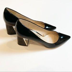 ZARA black patent leather gold block heel Size 39